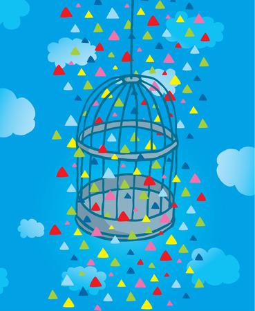 Cartoon illustration of colorful triangles around bird cage