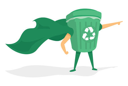 Cartoon illustration of green super recycling hero saving the day Ilustrace