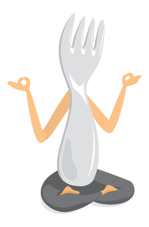 Cartoon illlustration of fork practising yoga in lotus position