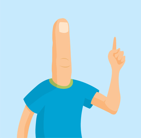 Cartoon illustration of funny man with finger head