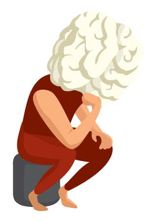 Cartoon illustration of pensive big brain head