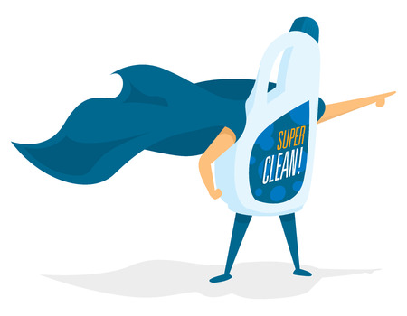 Cartoon illustration of super cleaning product as hero saving the day