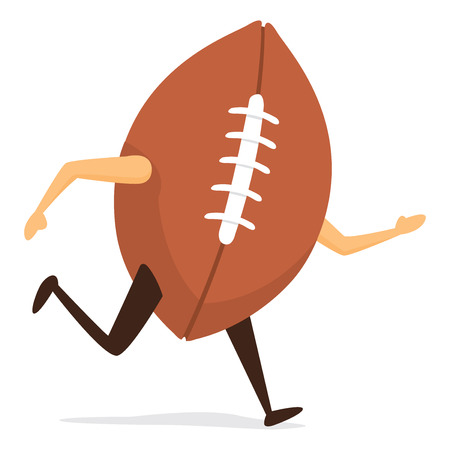 Cartoon illustration of american football on the run