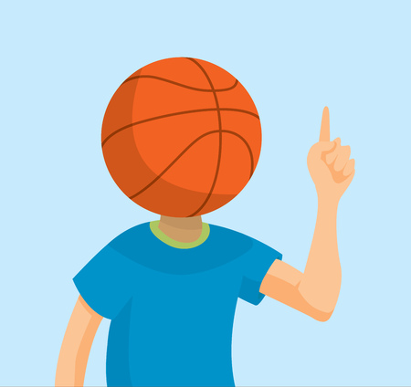 contemplate: Cartoon illustration of sports fan with basketball head