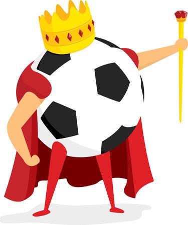 Beeldverhaalillustratie van koninklijke bal als voetbal of voetbalkoning