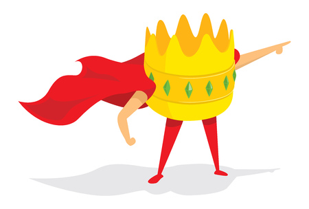 Cartoon illustration of crown super hero king saving the day