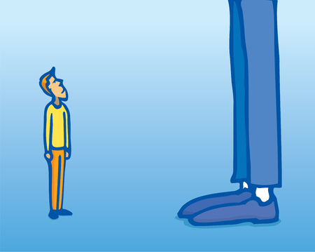 Cartoon illustration of huge contrast between small man and giant