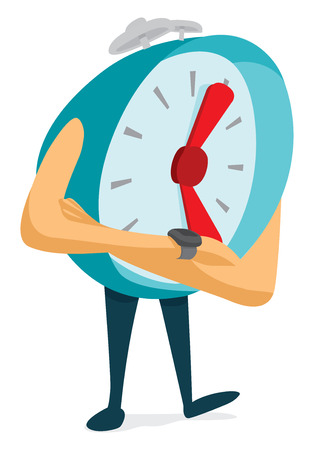 Cartoon illustration of nervous alarm clock checking time
