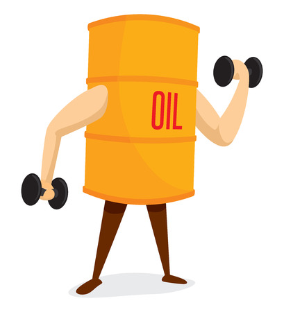 oil drum: Cartoon illustration of oil drum working out lifting weights Illustration