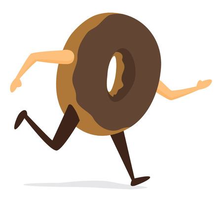 Cartoon illustration of fast donut on the run Ilustração