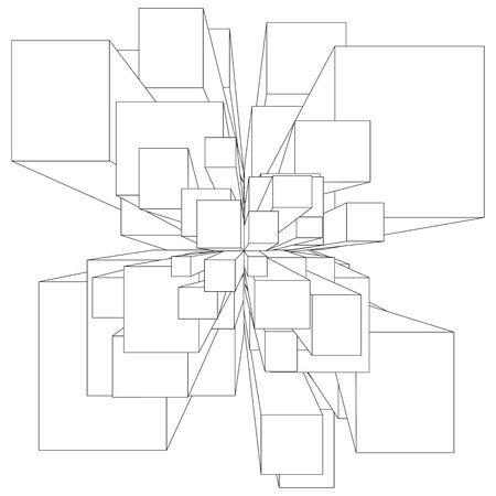 Ilustración de dibujos animados de explosión en forma cuadrada blanco y negro Ilustración de vector