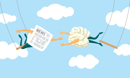 Cartoon illustration of brain and newspaper swinging on flying trapeze Illustration