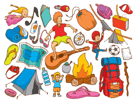 Cartoon illustration background of summer camp texture kids and objects