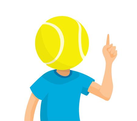 Cartoon illustration of big sports fan with tennis ball head Illustration
