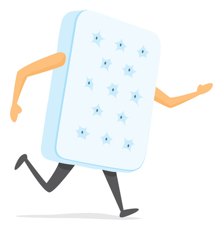 Cartoon illustration of white mattress with arms and legs running Illusztráció