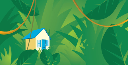Cartoon illustration of small house hidden in jungle Ilustração