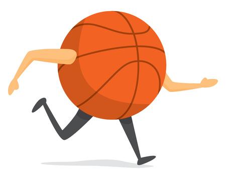 Cartoon illustration of basket ball on the run Illustration