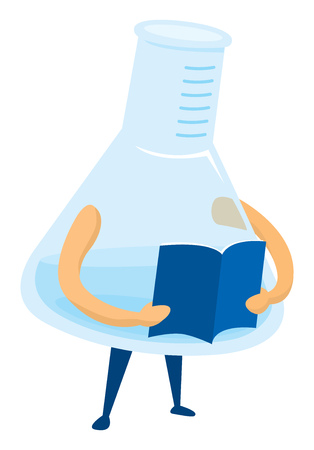 Cartoon illustration of test tube reading an article or book