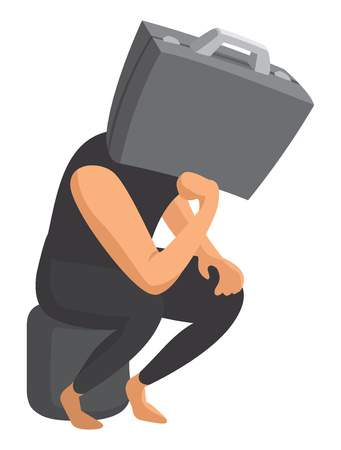 Cartoon illustration of business head worried and thinking