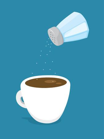 Cartoon illustration of saltshaker adding salt to coffee