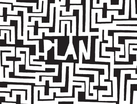 Cartoon illustration of complex maze or plan