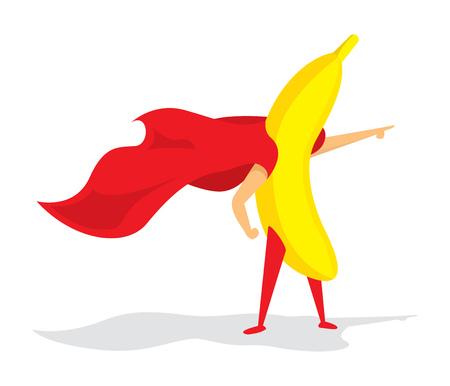 Cartoon illustration of banana super hero saving the day