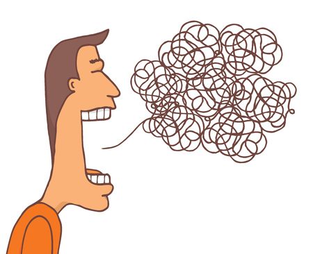 Cartoon illustration of communication mess or tangled message Çizim
