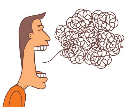 Ilustración de dibujos animados de desorden de comunicación o mensaje enredado Foto de archivo - 81918878