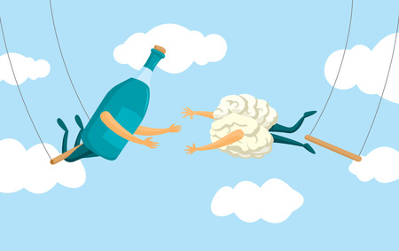 Cartoon illustration of desperate brain and alcohol bottle on flying trapeze Illustration
