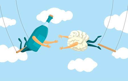Cartoon illustration of desperate brain and alcohol bottle on flying trapeze Illustration