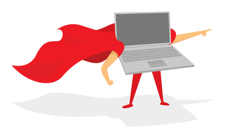 Cartoon illustration of laptop or computer super hero with cape