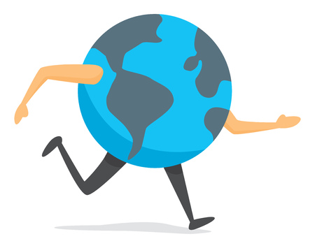 Cartoon illustration of planet earth on the run Illustration