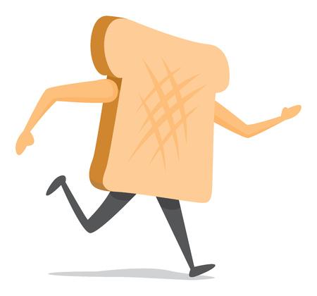 escape: Cartoon illustration of bread slice on the run