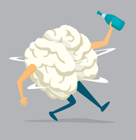 Cartoon illustration of drunk brain holding a bottle