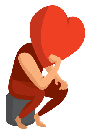 Cartoon illustration of heart having some deep thoughts