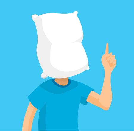 Cartoon illustration of sleepy man with pillow head