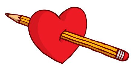 Cartoon Illustration des Herzens gestochen von Bleistift Standard-Bild - 81872688