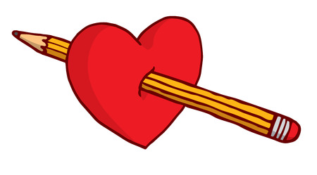 Cartoon illustration of heart stabbed by pencil Иллюстрация
