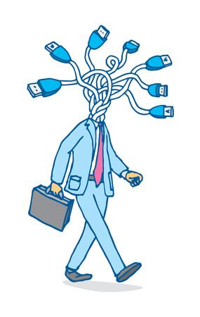 Beeldverhaalillustratie van zakenman verbindend hoofd of usb-netwerk