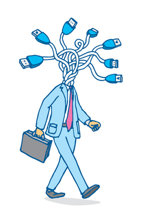 Cartoon illustration of businessman connecting head or usb network Çizim