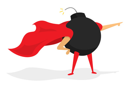 cartoon bomb: Cartoon illustration of classic bomb super hero standing with cape