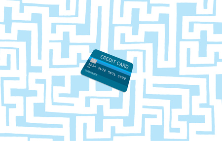 bankrupt: Cartoon illustration of hidden credit card lightbulb on complex maze