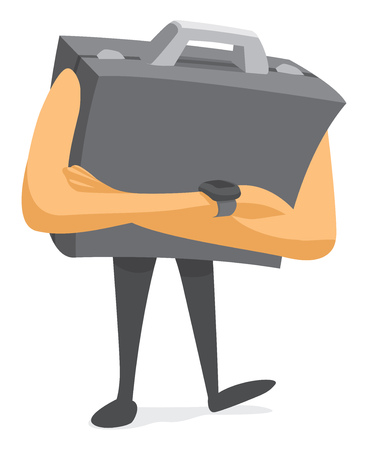 Cartoon illustration of nervous business portfolio waiting or negotiating