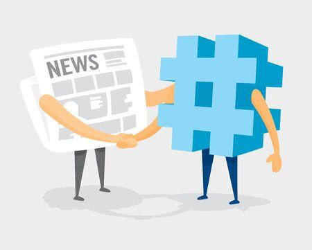 Cartoon illustration of friendly newspaper and hash tag handshake