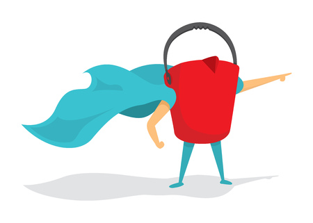 Cartoon illustration of red bucket super hero saving the day Illustration