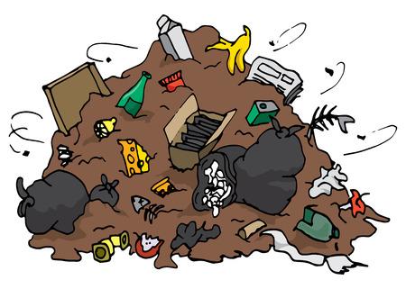 Cartoon illustration of big pile of decomposing garbage