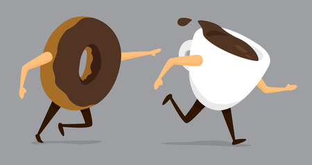 Cartoon illustration of funny chase between coffee and donut