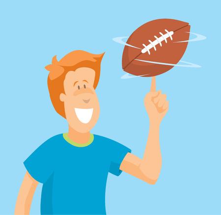Cartoon illustration of skillful quarterback handling a football ball Illustration