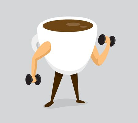 Cartoon illustration of strong coffee working out