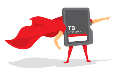 Cartoon illustration of memory card super hero standing with cape Ilustrace